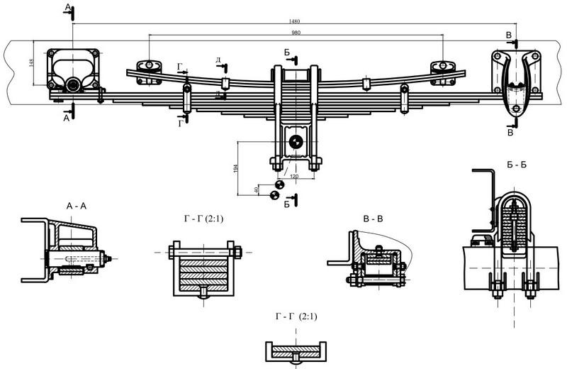 Автомобильная рессорная подвеска ЗИЛ-5301 Чертеж Автокад