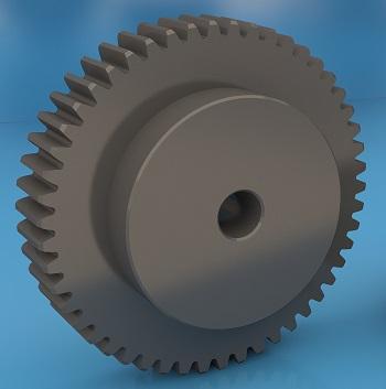 Прямозубое зубчатое колесо с модулем m3, и количеством зубьев z=50. Чертеж и 3D модель в Inventor