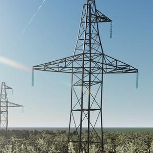 3D модель Высоковольтной башни для Lumion